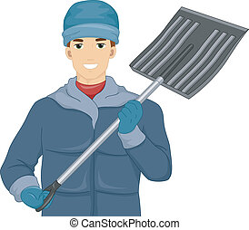 Snow Shovel Man - Illustration of a Man Holding a Shovel for...