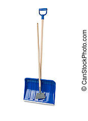 Snow shovels - Removing snow and ice on a white background...
