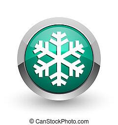 Snow silver metallic chrome web design green round internet icon with shadow on white background.