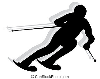 SNOW SKIER silhouette - Skier competing in a race