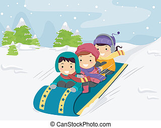 Snow Sled Kids - Illustration of Kids Riding on a Snow Sled
