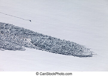 Snow slope with trace of avalanche