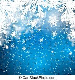 snow., snöflingor, bakgrund, stjärnfall