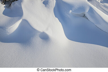 the snowdrift of snow formed after a snow storm