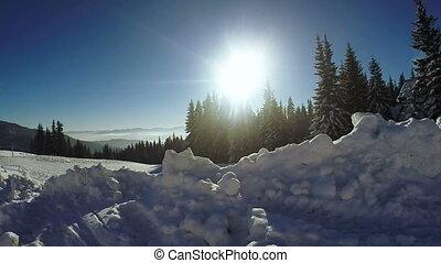 Snow snowdrifts in mountain village - Mountain village in...
