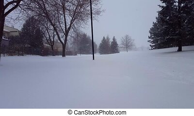 Snow Storm Blizzard in Suburb Public Park. Snowing Nature Scene in Suburban Residential Area. Snowy North Weather Scenic Landscape With Houses.