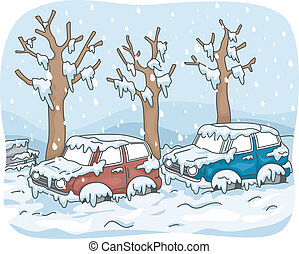 Snow Storm - Illustration Featuring Cars Stuck in Street...
