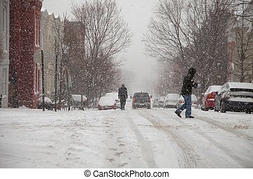 Snow storm pedestrians - Pedestrians walking the streets of ...