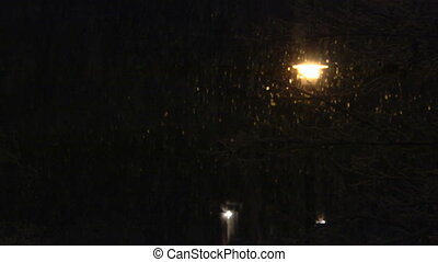 snow street light slow mo - Snow falling in front of a...