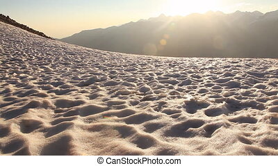 Snow Sunrise Sun Beams Mountains