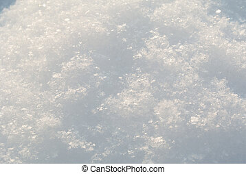 Snow surface macro view with shallow depth of field