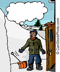 Snow-Surprise - Man with shovel surprised with a giant...