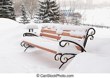 snow-täckt, parkera, vinter, bänk