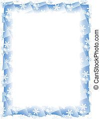 Snow Tile Border over White - Blue and white border over...