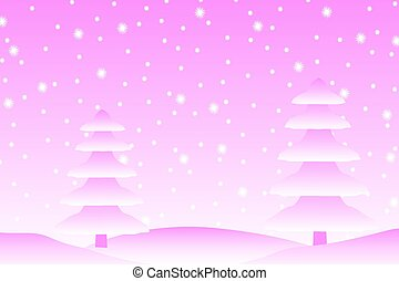 snow., tomber, paysage hiver