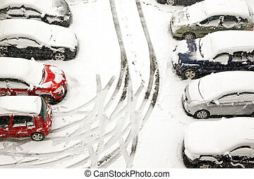 Snow tracks - Cars stuck in snow unable to move