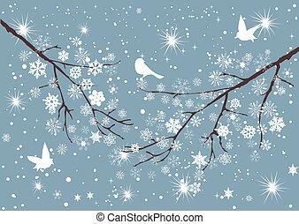 Snow Tree - vector snow branch with birds