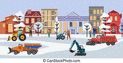 Snow trucks in winter city landscape - street with plow machines