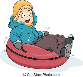 Snow Tube Boy - Illustration Featuring a Boy Riding a Snow...