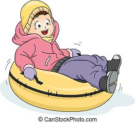 Snow Tubing - Illustration Featuring a Little Girl Riding a...