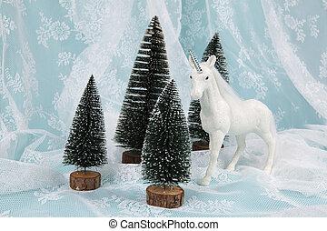 snow unicorn on a lace background