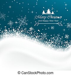 Snow vector background with snowflakes, Merry Christmas greetings.