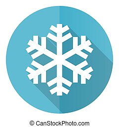 Snow vector icon, flat design blue round web button isolated on white background
