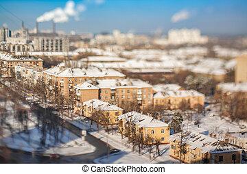snow., vieux, vue., trimestre, aérien