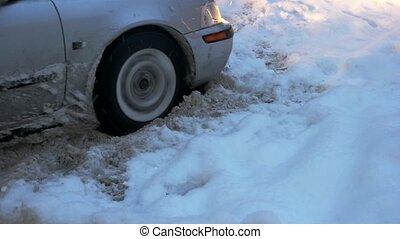 snow., voiture, collé