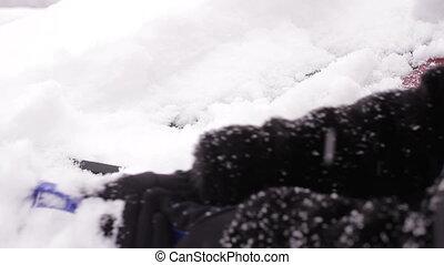 snow., voiture, girl, nettoie
