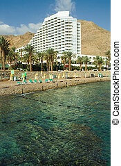 Snow-white hotel on a coast of Red sea