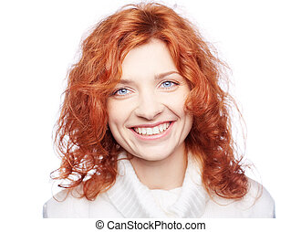 Snow white smile - Portrait of a ginger woman smiling at ...