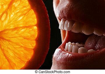 snow-white smile with an orange