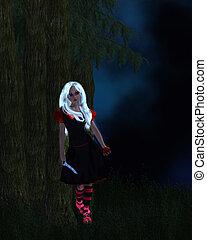 Snow White - Snow white standing next to a tree, holding a...