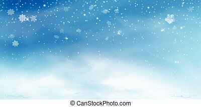 Snow winter background. Christmas sky landscape with cold cloud, blizzard, stylized and blurred snowflakes, snowdrift in realistic style. Vector illustration