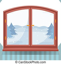 Snow winter outdoor view in wooden window, winter landscape with spruce trees through window, countryside home or cottage in nature illustration