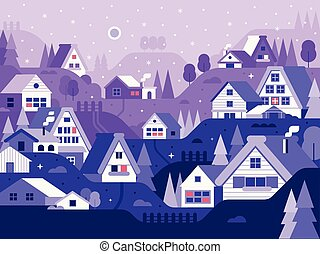Snow Winter Village Landscape