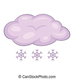 Snow with cloud icon, cartoon style