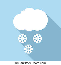 Snow with cloud icon, flat style