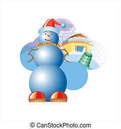 snowball., annoncer, vecteur, illustration.