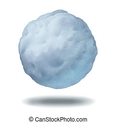 Snowball icon as a floating or thrown frozen winter ice...