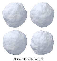 Snowballs set - Set of snowballs isolated on white...
