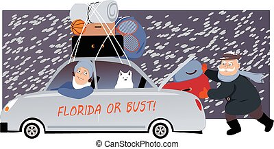 Senior couple with a dog packing a car under the snow and moving to Florida, EPS 8 vector illustration, no transparencies