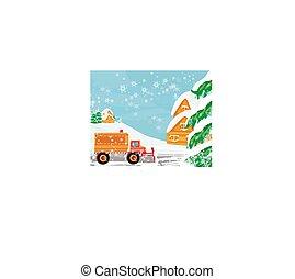 snowblower, camino, tarjeta