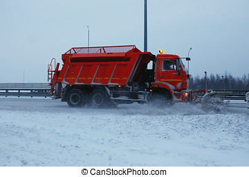 snowblower removes the track