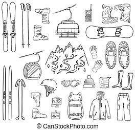snowboard, スキー, hand-drawn, アイコン