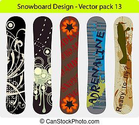 snowboard, デザイン, 13, パック