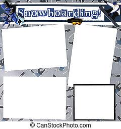 snowboard, 主題, スクラップブック, フレーム, テンプレート