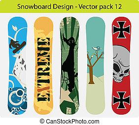 snowboard, 12, disegno, pacco