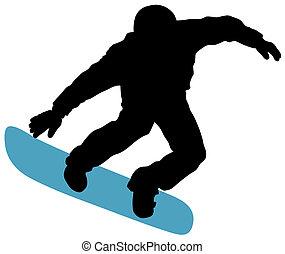 Abstract vector illustration of snowboard skier
